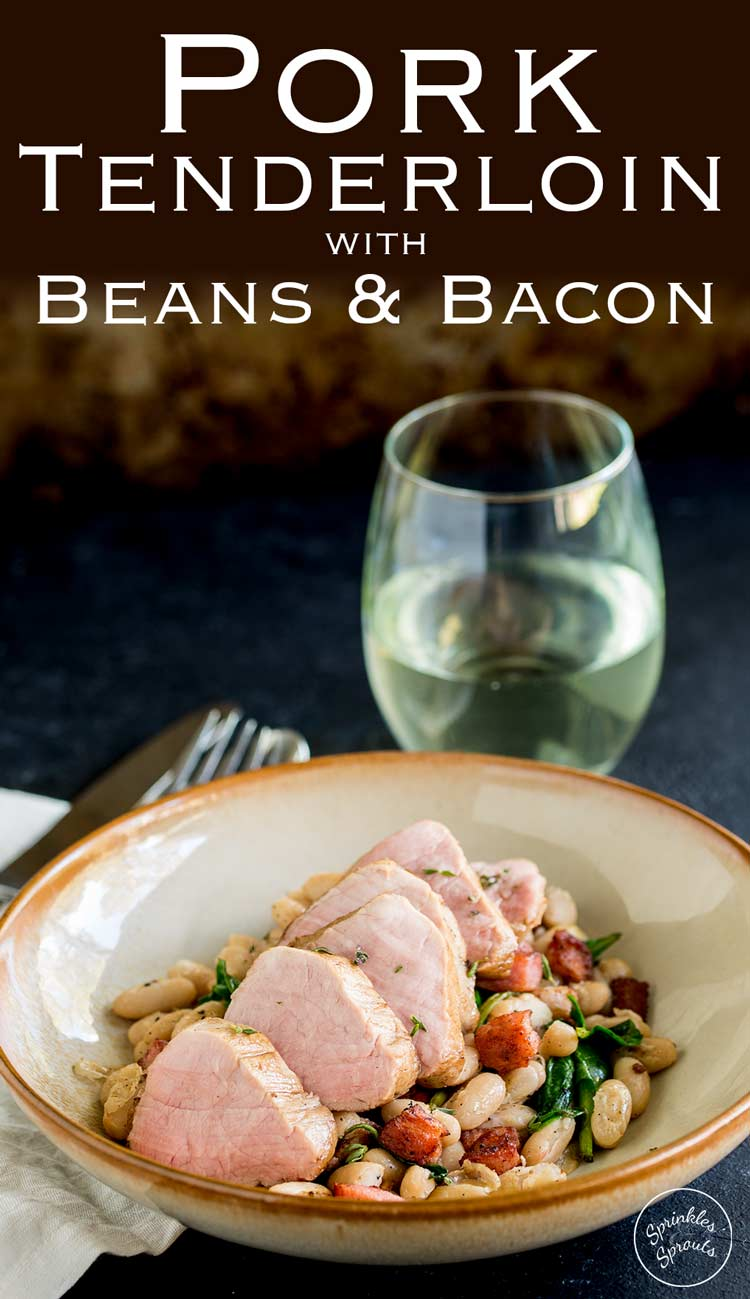 Succulent pork sat on a bed of creamy beans and crispy salty bacon. This Pork Tenderloin with Beans and Baconis delicious, comforting and oh so simple to make. Plus it looks elegant, which makes it perfect for entertaining. Recipe from Sprinkles and Sprouts | Delicious food for easy entertaining.