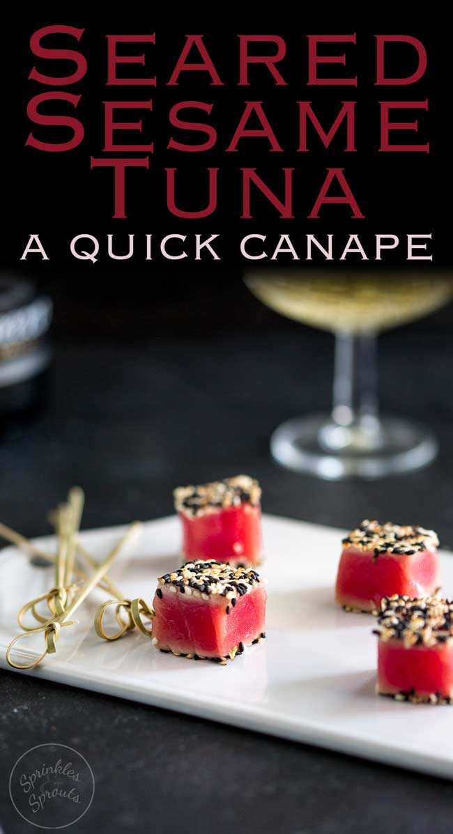 These Seared Sesame Tuna Bites are so simple, so delicious and so beautiful. If you need a party nibble then these are the perfect quick canapé. Recipe from Sprinkles and Sprouts | Delicious food for easy entertaining.
