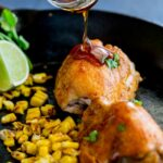 Spicy chicken served a delicious sweet and smoky maple caramel and the fresh pop of charred corn. This dish is a great combination of flavours. From Sprinkles and Sprouts.
