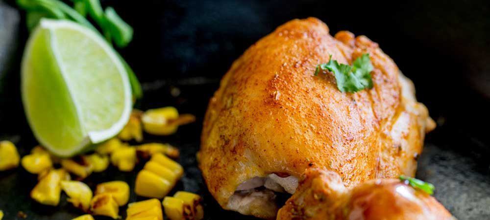 Spiced Chicken with Charred Corn and Smoky Maple Caramel