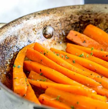 Pan of glazed carrots.
