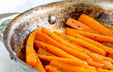 Pan of glazed carrots.