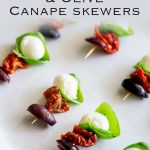 for pinterest. Overhead picture of the tomato, mozzarella and basil skewers on a white plate with text at the top
