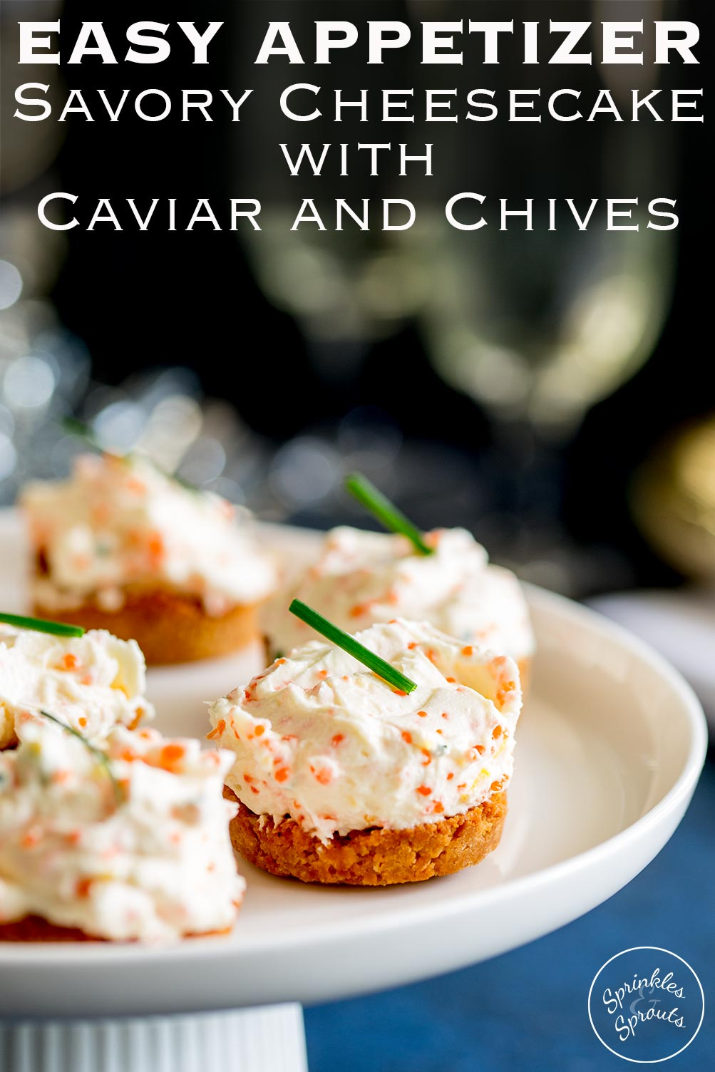 These Mini Savory Cheesecakes with Caviar and Chives are such a great party canapé or appetizer. The freeform nature gives them a slightly rustic look and then the use of caviar adds an elegantly edge. Elegantly rustic? Is that a thing? Ha, I am making it a thing!!! Plus they can be made in advance and looks so pretty on your platter or plate. What is not to love about that!  Recipe by Sprinkles and Sprouts | Delicious Food for Easy Entertaining
