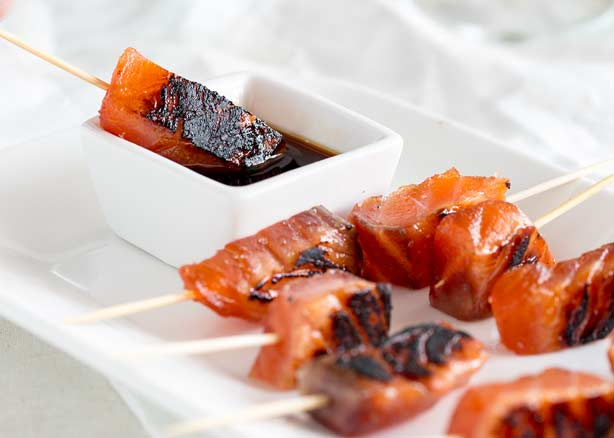Feature Image - showing the brown sugar salmon skewers .