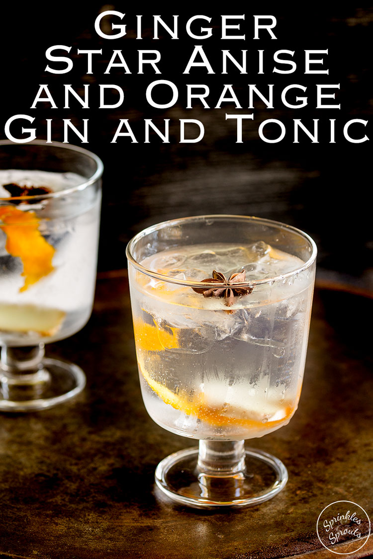 Try this Ginger, Star Anise and Orange Gin and Tonic at your next party or gathering. The warmth of fresh ginger and star anise mixed with sweet orange makes this unusual gin and tonic something special.Recipe from Sprinkles and Sprouts | Delicious Recipes for Easy Entertaining