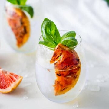 sq picture of a round bottomed stemless wineglass with gin and tonic garnished with grapefruit and basil
