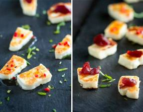 This grilled halloumi cheese is a quick and easy appetizer, perfect for a small gathering. Served with a sweet chilli dressing or a smoked cranberry sauce, it is delicious and oh so simple. Recipe by Sprinkles and Sprouts   Delicious food for Easy Entertaining