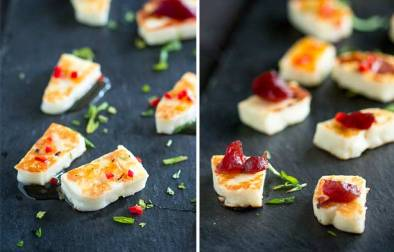 This grilled halloumi cheese is a quick and easy appetizer, perfect for a small gathering. Served with a sweet chilli dressing or a smoked cranberry sauce, it is delicious and oh so simple. Recipe by Sprinkles and Sprouts | Delicious food for Easy Entertaining