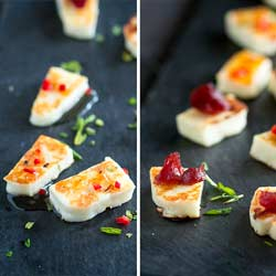 This grilled halloumi cheese is a quick and easy appetizer, perfect for a small gathering. Served with a red chilli and honey dressing or a smoked cranberry sauce, it is delicious and oh so simple.