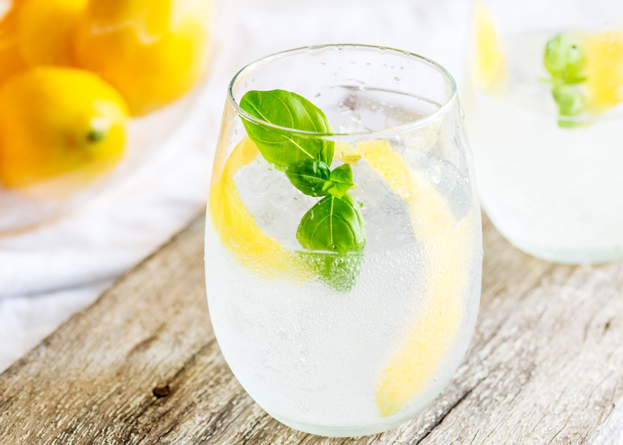 Lemon and Basil Gin and Tonic