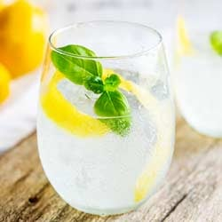 Lemon and Basil Gin and Tonic | Gin and lemon is such a classic combination but the addition of herbaceous basil means this Gin and Tonic pops with a wonderfully different flavor. This lemon and basil G&T is refreshing and unusual take on your normal G&T. Recipe by Sprinkles and Sprouts | Delicious Food for Easy Entertaining