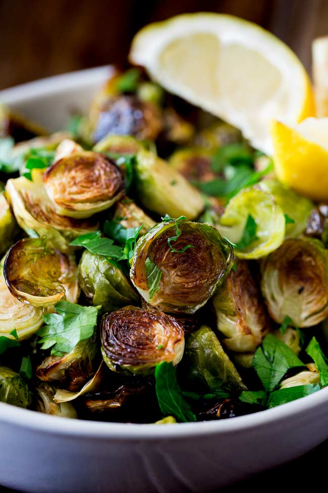 Close up on the roasted edge of the brussel sprouts.