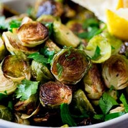 Roast Brussel Sprouts with Lemon and Parsley