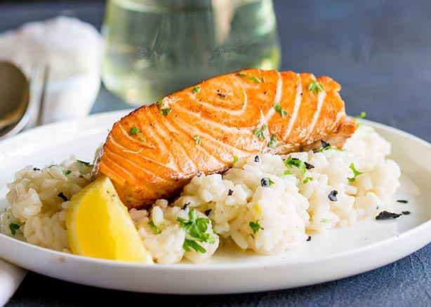 Seared Salmon with Lemon Risotto