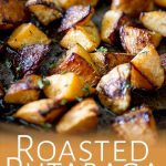 roasted rutabaga in a tray with text overlay at the bottom