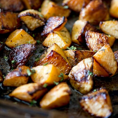 Roasted Rutabaga With Maple Syrup Sprinkles And Sprouts
