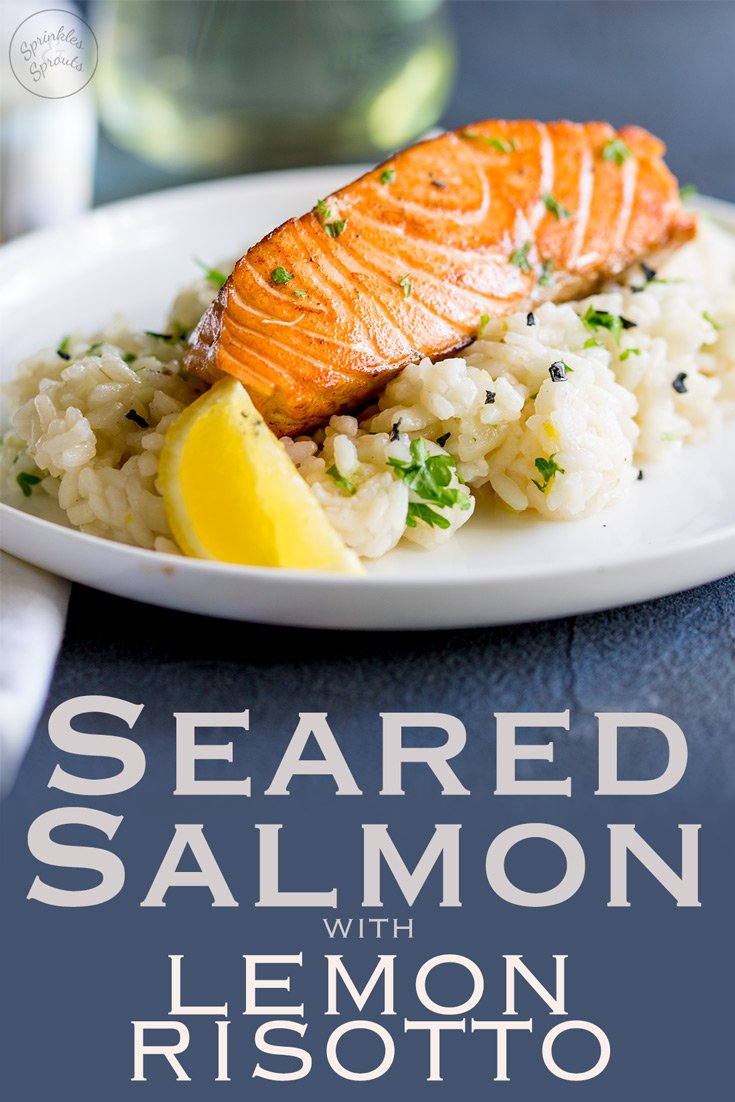This Seared Salmon with Lemon Risotto is an elegant main course perfect for entertaining or if you are spending date night at home. A creamy risotto and a crispy seared salmon fillet, all coming together with plenty of lemon, parsley and black pepper. Recipe by Sprinkles and Sprouts | Delicious Food for Easy Entertaining