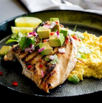 Jalapeño Lime Chicken with Corn Mash | Char grilled chicken with a delicious lime marinade served with a creamy sweet corn mash. Perfect for summer entertaining | Recipe by Sprinkles and Sprouts | Delicious Food for Easy Entertaining #chickenmarinade #backyardchicken #Grilledchicken #jalapenolime #chickenrecipe #easychickendinner