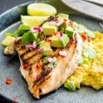 Jalapeño Lime Chicken with Corn Mash   Char grilled chicken with a delicious lime marinade served with a creamy sweet corn mash. Perfect for summer entertaining   Recipe by Sprinkles and Sprouts   Delicious Food for Easy Entertaining #chickenmarinade #backyardchicken #Grilledchicken #jalapenolime #chickenrecipe #easychickendinner