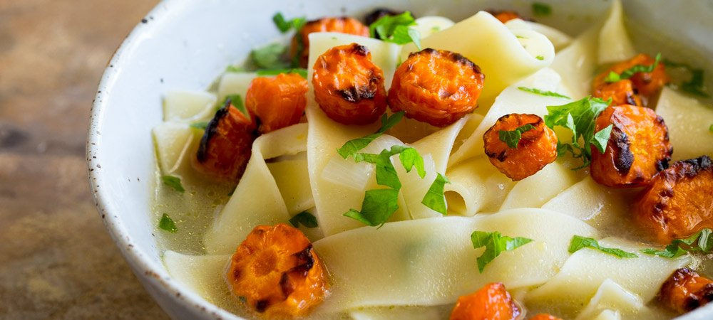 Vegetarian Noodle Soup with Roasted Carrot