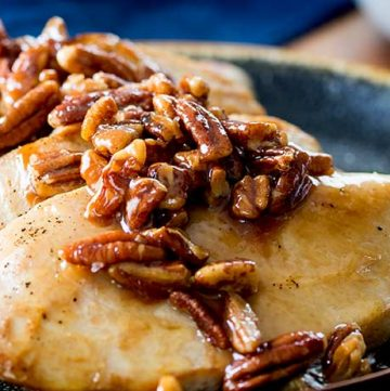 These Honey Butter Pecan Chicken Breasts are sweet, savory and buttery. They will instantly become one of your favorite chicken dishes. Plus they are so simple to prepare. Perfect for entertaining, date night or just a random Tuesday night.