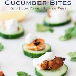 Tandoori Chicken & Yogurt Cucumber Bites | Theseare a flavor packed hors d'oeuvre (canapé) that are great for entertaining as they can be made in advance and served at room temperature. Plus they are keto and gluten free! Recipe by Sprinkles and Sprouts | Delicious Food for Easy Entertaining #chickenrecipe #partyfood #summerparty #outdoorentertaining #BBQchicken #grilledchicken #keto #lowcarb