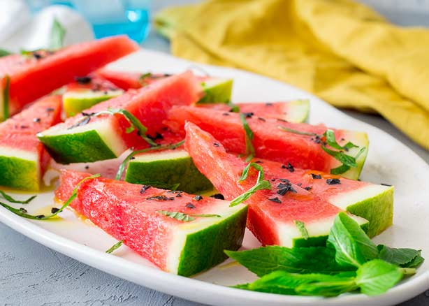 Salted Watermelon with Olive Oil and Mint