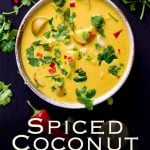 overhead view of the spicy coconut potato soup with text at the top