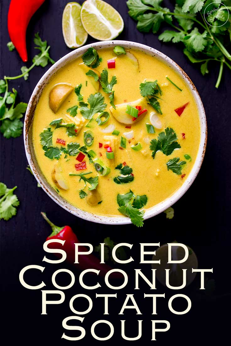 This spiced coconut and potato soup is a comforting yet fresh vegan soup. Ideal for a casual supper with friends or for a light lunch with the girls. Packed with flavor this is quick to cook and tastes amazing. Recipe by Sprinkles and Sprouts | Delicious Food for Easy Entertaining  #vegan #soup #vegansoup #vegetariansoup #spicysoup #quickdinner
