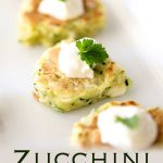 Pinterest image, long platter showing several zucchini pancakes with text at the bottom