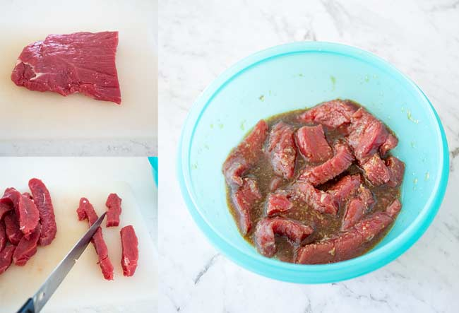3 way split picture, on the left 2 pictures showing how to cut the beef and on the right the beef n the marinade.