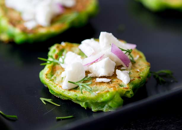 Pea Fritters with Goats Cheese Cream
