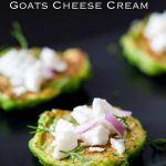 Pinterest image showing a close up of the pea fritter with text at the top of the page.