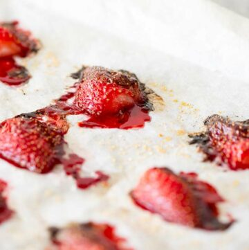 Close up on the caramelisation on the roasted strawberries