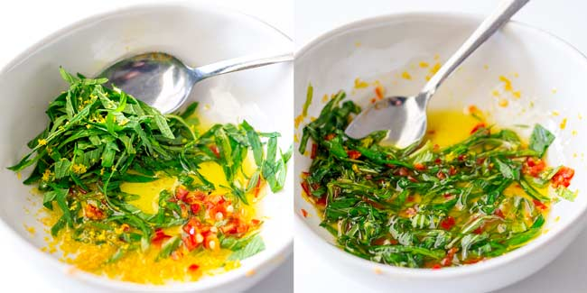 Split screen showing the mint, chilli and lemon dressing being made