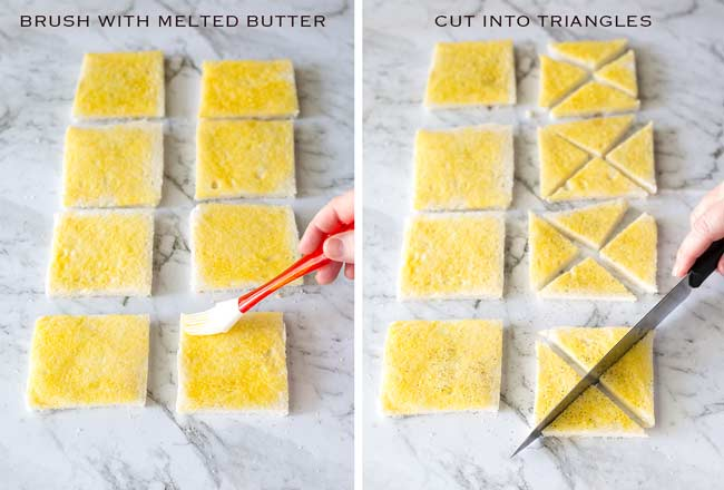 Split image, left bread brushed with butter. Right bread being cut into triangles