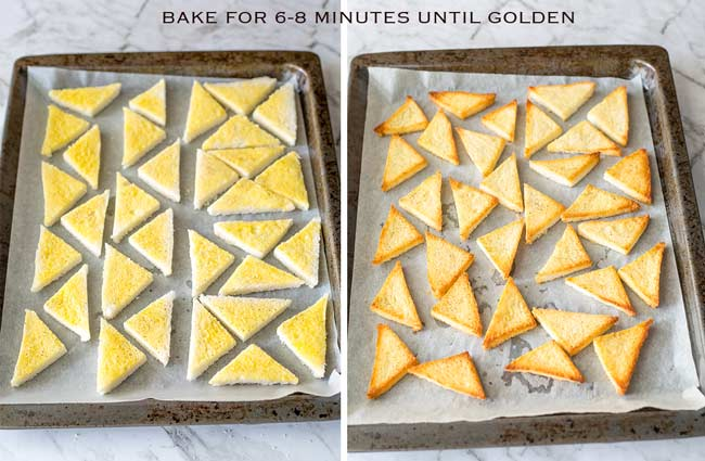 split, left showing pre-baked toast points, on the right the golden brown baked ones.