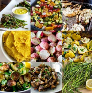 collage of 9 roasted side dishes