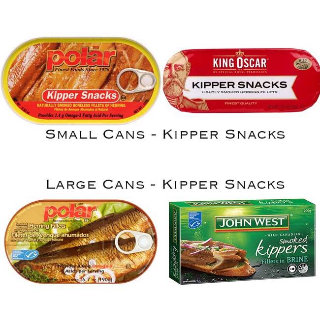 four packets of kipper snacks on a white background. Showing the brands available