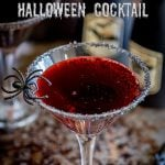 Pin image with an overhead view of the witches bloody cocktail with writing at the top