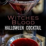 split pin image with two pictures of witches blood cocktail and writing in the middle