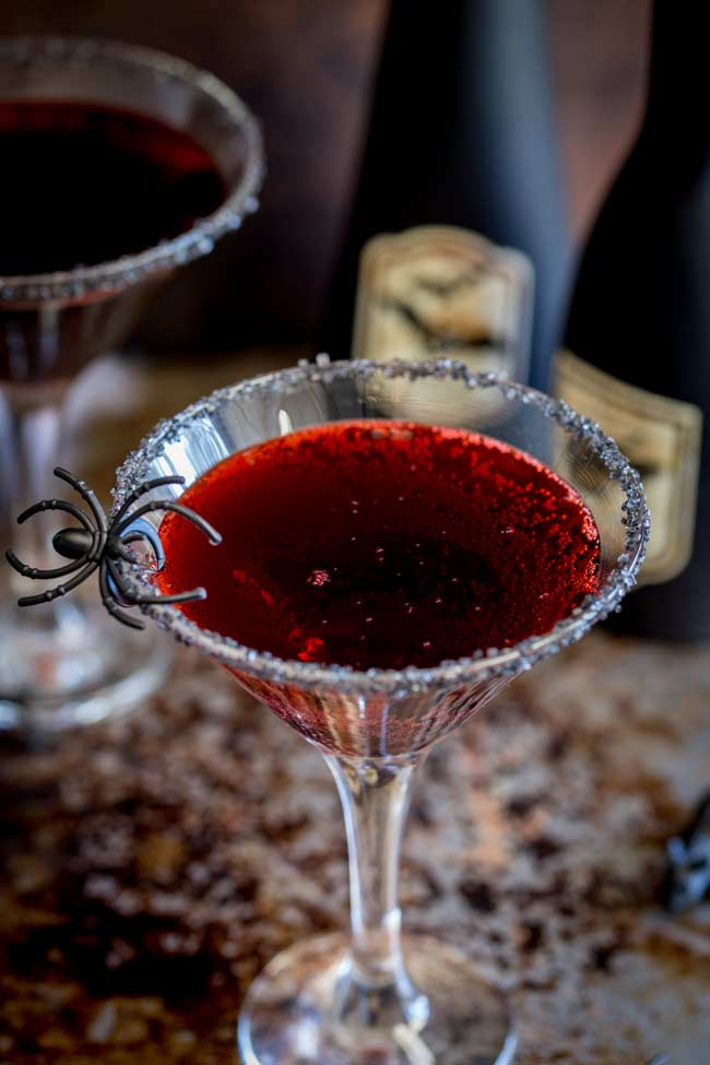 overhead showing the dramatically red colour of this halloween cocktail