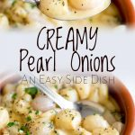 split picture showing the creamy onions being scooped up and also on the spoon