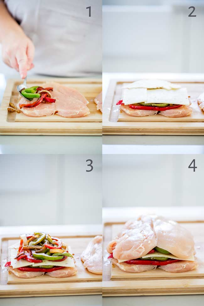 4 pictures showing a butterflied chicken breast being loaded with veggies and cheese