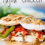 close up on the cut fajita chicken with text at the top