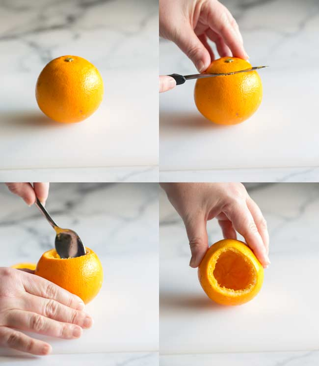 4 pictures showing how to cut the top off the orange and scoop out the insides
