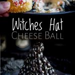 split picture showing a close up o the filling at the top and the full witches hat cheese ball at the bottom