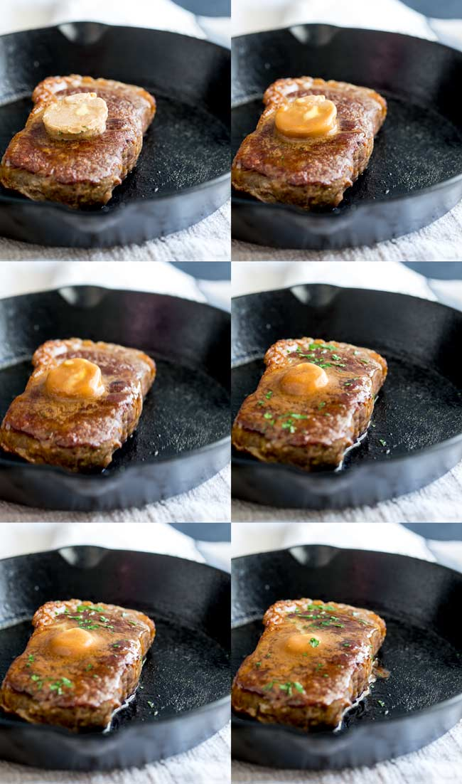 6 photos showing the pat of butter on top if the steaks melting