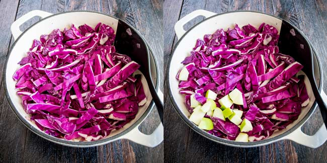side by side photo showing how thick to cut the cabbage